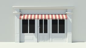 Sunny Shopfront with large windows White store facade with red and white awnings. 3D Royalty Free Stock Images