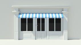 Sunny Shopfront with large windows White store facade Stock Photo