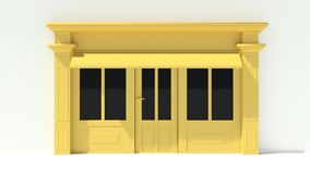 Sunny Shopfront with large windows White and yellow store facade with awnings. 3D Stock Images