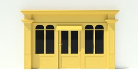 Sunny Shopfront with large windows White and yellow store facade with awnings Stock Photo