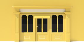Sunny Shopfront with large windows White and yellow store facade with awnings. 3D Royalty Free Stock Photo