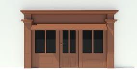 Sunny Shopfront met de grote voorgevel van de vensters Witte en bruine opslag met het afbaarden Stock Foto