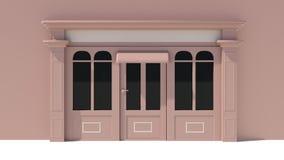 Sunny Shopfront met de grote voorgevel van de vensters Witte en bruine opslag met het afbaarden Stock Afbeeldingen
