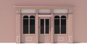 Sunny Shopfront met de grote voorgevel van de vensters Witte en bruine opslag met het afbaarden Royalty-vrije Stock Foto's