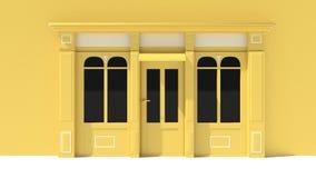 Sunny Shopfront met de grote voorgevel van de vensters Witte en gele opslag met het afbaarden Royalty-vrije Stock Foto