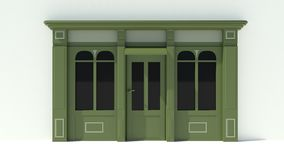 Sunny Shopfront met de grote voorgevel van de vensters Witte en groene opslag met het afbaarden Stock Afbeelding