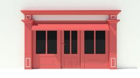 Sunny Shopfront met de grote voorgevel van de vensters Witte en rode opslag met het afbaarden Royalty-vrije Stock Foto's