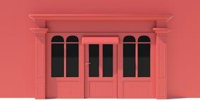 Sunny Shopfront met de grote voorgevel van de vensters Witte en rode opslag met het afbaarden stock illustratie