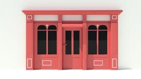 Sunny Shopfront met de grote voorgevel van de vensters Witte en rode opslag met het afbaarden Stock Foto's