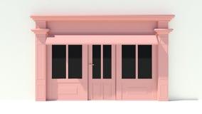 Sunny Shopfront met de grote voorgevel van de vensters Witte en roze opslag met het afbaarden Royalty-vrije Stock Foto