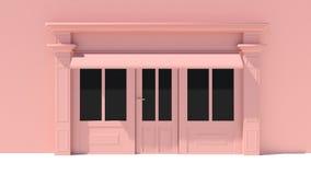 Sunny Shopfront met de grote voorgevel van de vensters Witte en roze opslag met het afbaarden Royalty-vrije Stock Afbeeldingen