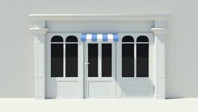 Sunny Shopfront met de grote voorgevel van de vensters Witte opslag met het blauwe en witte afbaarden Royalty-vrije Stock Afbeeldingen