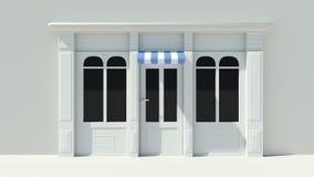 Sunny Shopfront met de grote voorgevel van de vensters Witte opslag met het blauwe en witte afbaarden Stock Afbeelding