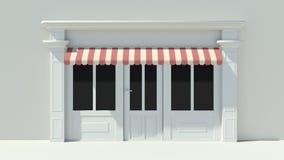 Sunny Shopfront met de grote voorgevel van de vensters Witte opslag met het rode en witte afbaarden Royalty-vrije Stock Afbeeldingen