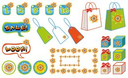 Sunny shopping sale elements Stock Photo