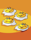 Sunny side up. Eggs cartoon; abstract vector art illustration Royalty Free Stock Photos