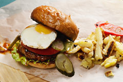 Sunny side up burger Stock Photo