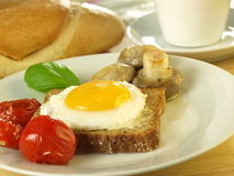 Sunny side up egg on a slice of bread Royalty Free Stock Image