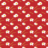 Sunny side up eggs and bacon breakfast. vector seamless pattern Royalty Free Stock Image