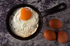 Free Sunny Side Up Fried Egg In Cast Iron Skillet With Whole Eggs On Concrete Background. Top View Stock Images - 173377004