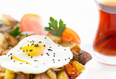 Sunny side up fried egg and vegetables Stock Photo