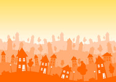 Sunny Silhouette city houses skyline. Sunny hot skyline with suburban houses, trees and lamps silhouettes. Real estate concept Vector Illustration