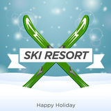 Sunny ski resort and happy holiday Stock Image