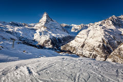 Sunny Ski Slope and Matterhorn Peak in Zermatt Stock Photography