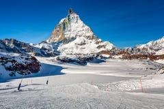 Sunny Ski Slope and Matterhorn Peak in Zermatt Stock Image