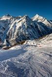 Sunny Ski Slope and Mountains Peaks in Zermatt Stock Photos