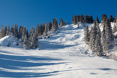 Sunny Ski Slope and Ski Lift near Megeve in French Alps Royalty Free Stock Image