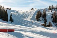 Sunny Ski Slope at ski resort Royalty Free Stock Photo