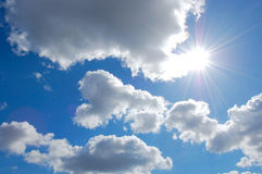 Sunny sky. Bright sun on a background sky stock photography