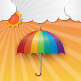 Sunny sky background. Rainbow color umbrella and sun on sunny sky background Royalty Free Stock Image