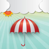 Sunny sky background. Red-white umbrella and sun on sunny sky background Stock Image