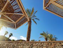Clear sunny sky and beach umbrellas in Eilat resort; Israel royalty free stock images