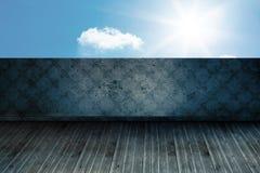 Sunny sky beyond balcony. Sunny sky beyond wallpaper balcony Stock Image