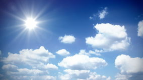 Sunny sky with clouds stock video footage