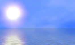 Sunny Sky and Ocean. Illustration of bright sun against calm blue ocean vector illustration
