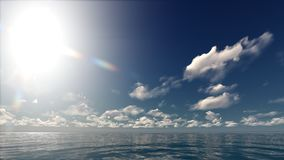 A sunny sky in the ocean. This 3d illustration represents a sunny day with a blue sky and white clouds in the ocean Stock Photography