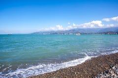 Sunny Sky Over Calm Water do mar Fundo natural W da paisagem Fotografia de Stock Royalty Free