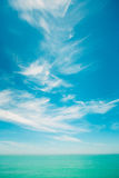 Sunny Sky Over Calm Water Of Sea Or Ocean. Natural Background Wi Royalty Free Stock Photos