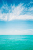 Sunny Sky Over Calm Water Of Sea Or Ocean. Natural Background Wi Royalty Free Stock Photo
