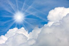 Sunny sky over clouds. Stock Images