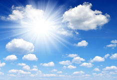 Sunny sky. With white clouds Stock Photo