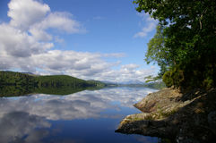 Sunny skys reflection. A reflection of a beautiful blue sky reflected in a scottish loch royalty free stock images