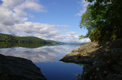 Sunny skys reflection. A reflection of a beautiful blue sky reflected in a scottish loch royalty free stock photo