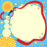 Sunny Snowman Christmas Card. Invitation or christmas card with a snowman with a long neck scarf holding and a big bright sun shining Stock Images