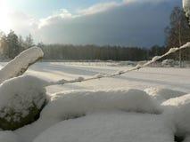Sunny Snowy Fields Stock Photos