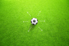 Sunny soccer ball strategy concept movement Royalty Free Stock Photo